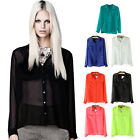 Fashion Candy Color Simple Basic Sheer Chiffon Blouse Shirt With Pocket Tops
