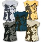 LADIES SHORT SLEEVE GIRL PRINT VEST TOP WOMENS GLITTER COTTON T-SHIRT UK 8-14