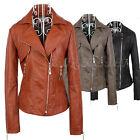 Womens Ladies Cropped  PU Leather Biker Jacket Bomber Zip SIze 8 Small Black Tan