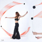 New Belly Dance Gradient Silk Veil Poi1 SET 2 Veils+2 Balls+2 Chain 31 colors