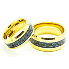 Matching 8mm & 10mm 18k Gold Plated Black/Blue Carbon Fiber Tungsten Ring Set