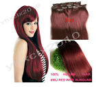 "New 14""-30"" Full Head Best Quality Clip in Human Hair Extensions #99J Dark Red"