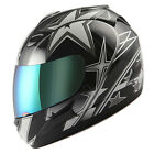 NEW Motorcycle Full Face Helmet Street Bike Adult Star Glossy Black S M L XL