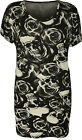 New Womens Plus Size Skull Rose Print Short Sleeve Ladies Long T-Shirt Top 14-28