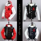 Womens Hoodie Letter A Varsity Baseball Solid Cotton Stylish Two tone Jacket-New