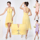 Ladies Sexy Hot Chiffon Short Beach Bridesmaid Cocktail Party Dress Yellow 03643
