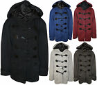 New Womens Plus Size Plain Button Hooded Toggle Ladies Jacket Duffle Coat 16-20