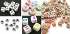 200 OR 400 PASTEL SILVER BLACK WHITE ALPHABET BEADS ROUND FLAT 7MM & CUBE 6MM