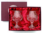 PAIR LUXURY BOX BRANDY GLASSES Hand Cut Lead Crystal Quality Couples Gift NEW