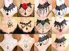 New Lot Colors Beads Black White Lace Flower Bronze Choker Necklaces More Styles
