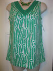 NWT-New-Croft & Barrow--Horsebit/Chainlink Top with Crochet Neck Kelly Green