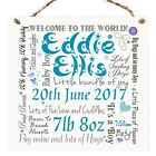 Personalised New Baby Newborn Wooden Plaque Sign Keepsake Typography Gift W47