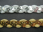 Silver / Gold Sequin Braid Trim 1.5cm   Sewing/Crafts/Costume/Corsetry