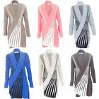 New Womens Ladies Twin Tone Waterfall Open Knitted Cardigan Size 8 10 12 14 S M