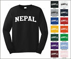 Country of Nepal College Letter Long Sleeve Jersey T-shirt