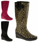 Ladies Wellingtons Boots Womens Wedge Festival Rain Wellies Sz Size 3 4 5 6 7 8