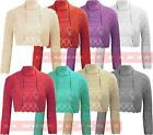 T24 NEW WOMENS KNITTED CROCHET METALIC LUREX LONG SLEEVE PLUS SIZE BOLERO SHRUG.