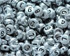 50pcs silver flat round single number 0-9 beads 7mm