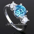 Lady Fashion Silver Ring 8mm Round Stone Anniversary Gift Size 6 7 8 for Choice