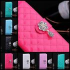 Luxury leather shining Elegant Crystal Wallet Flip Hard case cover for iPhone 5C