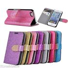 Glitter Powder Shining leather Case Wallet For Apple iphone 4 4s iphone 5 5s