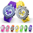 Geneva Silicone Silver Crystal Quartz Sports Women Girl Jelly Wrist Watch Gifts