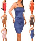 Ladies Sexy Stretch Jersey Party Holiday Dress Diamante Detail One Size10/12 168