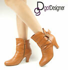 Womens Fashion Shoes Tan Ankle Boots Med-Heel Round Toe Casual Daily Wear Casual