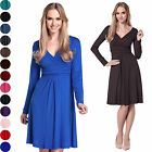 Glamour Empire. Women's Knee Length Long Sleeve Jersey Skater Empire Dress. 890