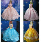 St Barbie Doll Clothes Wedding Evening Party Ball Dress Gowns Gift W/ Lace Edge