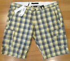 MENS CALVIN KLEIN CHECK CARGO SHORTS - YELLOW/BLUE - BNWT - W38""