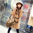 New Autumn/Winter Womens Wool Blend Hooded Duffle Toggle Coat Outwear