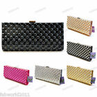 Glitter GREY BLACK GOLD SILVER Satin Diamond Diamante Clutch Evening Bag #333