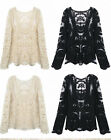 Womens Sexy Semi  Sheer Sleeve Embroidery Floral Lace Crochet Top Blouse Tee