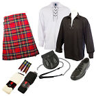 SCOTTISH 5PC CASUAL KILT OUTFIT PACKAGE - DELUXE 8YD KILT - 10+ TARTANS & BLACK!