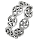 Sterling Silver Pentacle Pentagram Band Ring Wiccan Pagan Jewelry (sz 4-15)