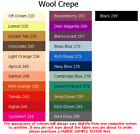 100% Wool Crepe fabric in over 10 colours, Medium Weight, HIGH QUALITY