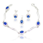 New Sterling Silver Set with Sapphire & small Zircons, Earrings Pendant Bracelet