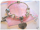 """CHILDRENS GIRLS 6"""" DAUGHTER INITIAL LETTER AGE PINK CHARM BRACELET 10 CHARMS"""