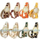 Retro Long Strap Chain Crystal Leather Women's Girl's Lady Quartz Watch Gift