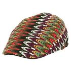 ililily Color Scales Pattern Knit Flat Cap with Adjustable Strap Newsboy Hat 544
