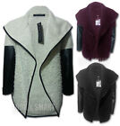 NEW WOMENS FRONT OPEN PVC LONGLEEVES FURRY JUMPER SWEATER CARDIGAN SIZE 8-14 UK