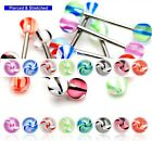 Surgical Steel Tongue Bars with Swirl 6mm Balls in 1.6mm x 16mm Barbells