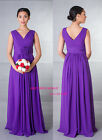 Purple chiffon Bridesmaid Evening Party Prom Dress with flower zip up SZ 8-24