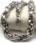Mens Boys Heavy Silver 10mm Stainless Steel Rope Necklace Bracelet