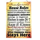 Grandparents House Rules Nanas Grandads Grandmas Wooden  Plaque Gift  W101