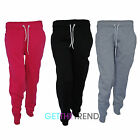 Womens Full Length Fleece Joggers Girls Plain Cuffed Black Grey Jogging Bottoms