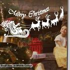S- New Santa Claus Christmas Deers Shop Window Wall Art Decoration Sticker Decal
