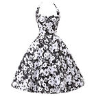 STOCK! NEW FLORAL 50s SLEEVELESS ROCKABILLY PINUP SWING PROM COCKTAIL DRESS S-XL