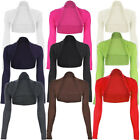 Womens Long Sleeve Plain Shrug Bolero Cropped Cardigan Top Ladies Size